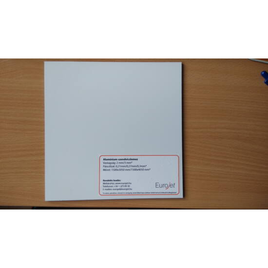 Aluminium szendvicslemez - 3 mm - 0,15 mm - Fehér/Natúr alu - 1500x3050 mm